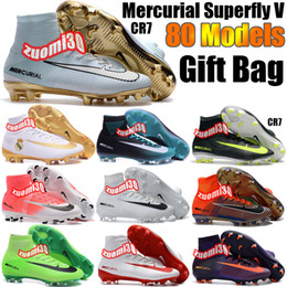 Wholesale Charlin s New Mens Original Football Boots Mercurial Superfly V Soccer Shoes FG AG CR7 Soccer Cleats High Ankle Football Cleats Magista Obra