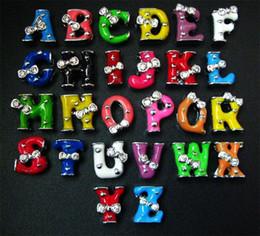 Wholesale 8mm 260pcs lot A-Z Mix Colors two rhinestones Slide letter DIY Charm Accessories fit for 8mm keychains bracelet