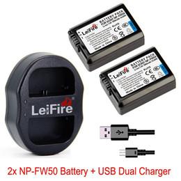 A7r sony en Línea-LeiFire® 2x NP-FW50 Batería recargable de ion de litio + cargador USB dual para Sony NP-FW50 NEX 6 NEX-7 5R 5N 3N A7R Cámara A7S