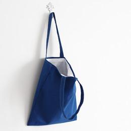 Venta al por mayor- YILE Bolsa de tela de algodón de compras Tote Bolsa de hombro Bolsa ecológica reutilizable Azul sólido L179 desde la bolsa de asas de transporte al por mayor fabricantes