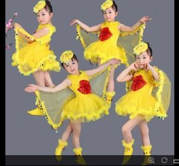 2017 mignon cosplay fille Enfants Performance Costume Bird Girls Cute Cosplay Wing Head Wear Chaussures Ball Party Performance Cosplay Yellow Bird Girls mignon cosplay fille promotion