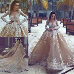 Luxurious Long Sleeve Ball Gown Wedding Dresses Appliques Beaded Champagne Scoop Neck Plus Size Bridal Wedding Gowns
