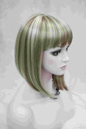 2017 new fashion health Super Cute fashion cute BOB flaxen with blonde short straight women's full wig