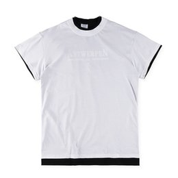 US Size 2017 High Quality VETEMENTS Double T-Shirts Men Women 100% Cotton Logo Black Tee Back Print High Street Skateboards Classic T-shirt