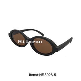 vintage oval black wooden sunglasses