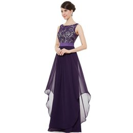 Wholesale Dress After V neck Sleeveless Lace Stitching Chiffon Europe and The United States The New Elegant Long Cocktail Skirt