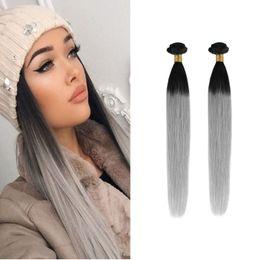 Resika Wholesale Cheap Brazilian Virgin Hair Straight Unprocessed Brazilian Human Hair Weave Bundles T1B Gray 2pcs Can be Dyed