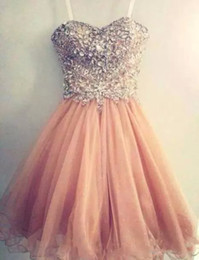 2017 Popular Homecoming Dresses Spaghetti Strap Tulle Beaded Short Coral Prom Dress Free Shipping Short Junior Senior Homecoming Dress