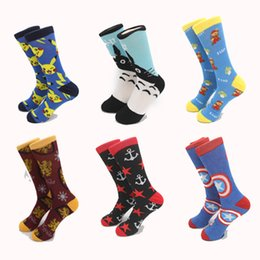 Wholesale mens brand superheroes harry potter batman pikachu cotton socks star anchor pattern crew long tube big size socks for mens team competition