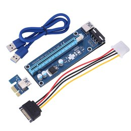 2017 Newly Updated Hot PCI-E Express Extender Riser Card Adapter 1X to 16X w 6 Pin IDE Power Cable USB 3.0 Ports Data Cables Ver006C 60cm