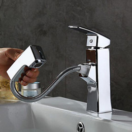 Beautiful Chrome Finish Pull Out Rain Waterfall Spout Bathroom Sink Basin Faucet Deck Mount Hot Cold Mixer Tap