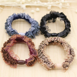 High Quality New Women Hair Jewelry Lace Multicolor Elastic Hair Rubber Bands Four Color Hair Jewelry