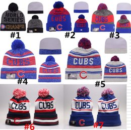Wholesale Chicago Cubs Pom Beanies CUBS Baseball Club skull caps World Seris Champs Sport Team Knitted Skullies Authentic Brand Winter Hats