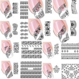 Transfert d'eau autocollants de tatouage à vendre-Vente en gros-20pcs Mixed Mode Sexe Black Lace Vine Charme Nail Art Stickers Water Transfer Décalcomanie Wraps Nail Art Tattoos DIY Printing