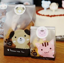 Wholesale size pink cat and yellow dog plastic bags packaging bags pouches wrappers cupcake