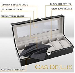 Luxury Watch Box 6 Velvet Pillow Slots, Premium Display Case With Framed Glass Lid, Elegant Contrast Stitching, Sturdy & Secure Lock