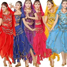 4 Pieces Set Belly Dance Costume Stage wear Bollywood Costume Indian Dress Belly dance Dress Womens Belly Dancing Costume Sets 6 Colors