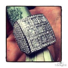 Mens Diamond Ring Round Cut F-G Color VS1 14k White Gold 9.56ct