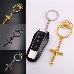 U7 Trendy Cross Jewelry Jesus Piece Key Chains Holder Stainless Steel Gold Black Gun Plated Crucifix Car Key Ring Religious Accessories