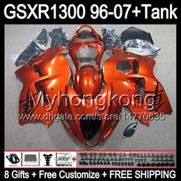 8gift orange brillant Pour SUZUKI Hayabusa GSXR1300 96 97 98 99 00 01 13MY151 GSXR 1300 GSX-R1300 GSX R1300 02 03 04 05 06 07 TOP noir Carénage à partir de 98 gsxr carénage orange noir fournisseurs
