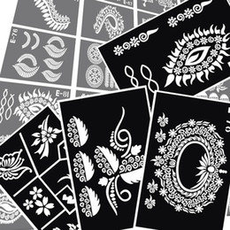 Wholesale Sheets For Glitter Tattoos - Wholesale-6pcs lot Mixed Design Sheets henna tattoo Stencils for Body Painting Glitter Temporary template Henna Tattoo paint Kit 15*12cm