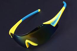 Cycling Polarized Sunglasses Rimless Men Women Sunglasses UV400 Sport Bicycle Glasses Mountain Bike Golf Ciclismo Eyewear, Yellow and Blue