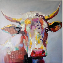 Framed Abstract Cow Cartoon,High Quality genuine Hand Painted Wall Decor Abstract Animal Art Oil Painting On Canvas Multi Sizes ali-M&H