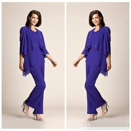 Wholesale Cheap Purple Suits For Women - 2017 Simple Chiffon Plus Size Purple Mother Of The Bride Pant Suits Summer Formal Evening Party Gowns For Women Cheap for sale