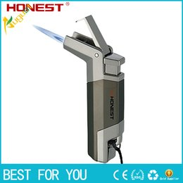 Wholesale New hot HONEST Creative personality infaltable butane lighter cigar lighter windproof metal jet torch lighter for incense BBQ with gift box
