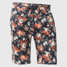 2016 comprimento cintura quadril Atacado- Floral Imprimir Men Shorts Designer Hawaii Shorts Verão Joelho Comprimento Meias Bottom Masculino Loose Algodão Drawstring Cintura Urban Hip Hop desconto comprimento cintura quadril