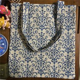 Venta al por mayor- YILE algodón de lino bolsa de compras de hombro bolsa de transporte Eco bolsa reutilizable impreso de flor azul motivo 170213-2 desde la bolsa de asas de transporte al por mayor fabricantes