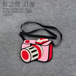 Acheter en ligne Caméras pour les filles-Grossiste-Jouets pour enfants Sac fille Garçon Creative 3D Camera Non-tissé Fabricc Peluches Sacs à bandoulière Accessoires pour bébés 14 * 17CM