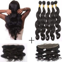 7A Brazilian Virgin Human Hair Weaves Bundles With Lace Frontal 5 pcs 100g Body Wave Human Hair Extensions 8-24 inch Free Shipping