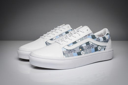 Paul Van Doren classic stamp pattern old skool unisex low top canvas shoes for men's and women's white os skateboarding sneakers
