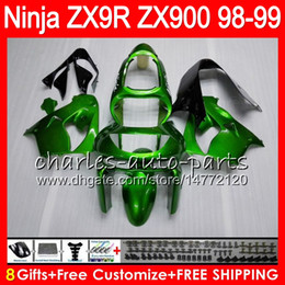 8Gifts 23Colors For KAWASAKI NINJA ZX 9 R ZX9R 98 99 00 01 900CC 48HM1 ZX 9R ZX900 ZX900C ZX-9R 1998 1999 2000 2001 Fairing kit Gloss green