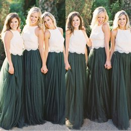 Junior Two Pieces Bridesmaid Dresses 2019 Boho Maid Of The Bride Evening Gowns Formal Occasion Wear Plus Size Dark Green Lace