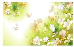Custom Photo Wallpaper 3D Stereo Original fantasy flower ink green white flower background wall TV Background Wall Mural Wall Paper