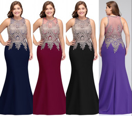 New Elegant Mermaid Evening Dress Plus Size Long Mother Dresses Robe de soiree Prom Gowns Appliqued Illusion Back CPS525