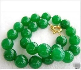 New 10MM NATURAL GREEN JADE ROUND BEAD NECKLACE 18""