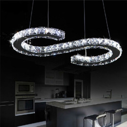 AC 110-230V 21W S Letter LED crystal chandelier lighting clear crystal large size led luxury modern pendant lamp Lustres chandeliers fixture