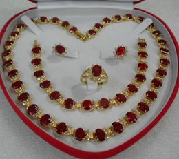 Royal retro red Crystal stones Necklace earring ring Set for Gifts social gatherings,wedding