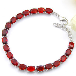 Luckyshine 2Pieces 1 lot Holiday Gift Oval Fire Garnet Crystal Silver Chain Bracelets Russia American Australia Wedding Bangles