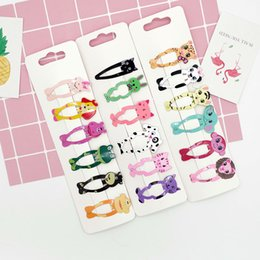 European and American children's hair accessories cute animal children hair clip metal paint girls bb clip color printing bangs folder