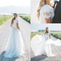 New Beach Boho Wedding Dresses 2019 Short Sleeves Plus Size Country Bridal Gowns Bohemia vestido de novia