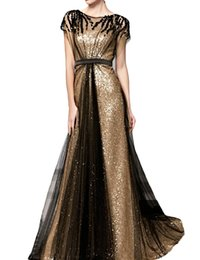 Women's Sequin A Line Long Evening Dress with Sleeve Formal Gown