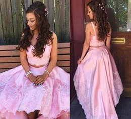 08ac2dee15 Sweet Pink Lace Prom Dresses 2018 Two Pieces Dress Hi Lo Party Gowns  Sweetheart Neck Satin Skirt Baby Pink Girls Evening Party Gowns