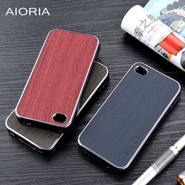 Wooden design case for iPhone 5 5S SE 4S soft Chromed TPU material & wood PU leather skin covers coque fundas for iPhone 4