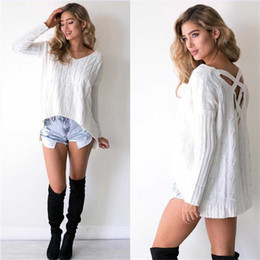 sweater women's wear autumn and winter Europe and America V collar solid color back hollow loose knit sweater women's wear
