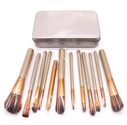 12Piece Travel Makeup Brush Set Gold Brown Synthetic Cosmetic Face Multi-function Brush Kit With Iron Box
