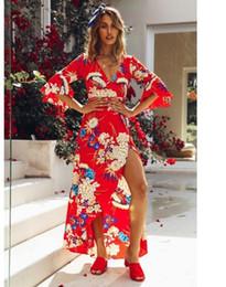 2018 summer exploding V collar trumpet print dress, long skirt.